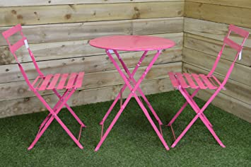 SupaGarden 3 Piece Pink Metal Folding Bistro Set #CSFB150