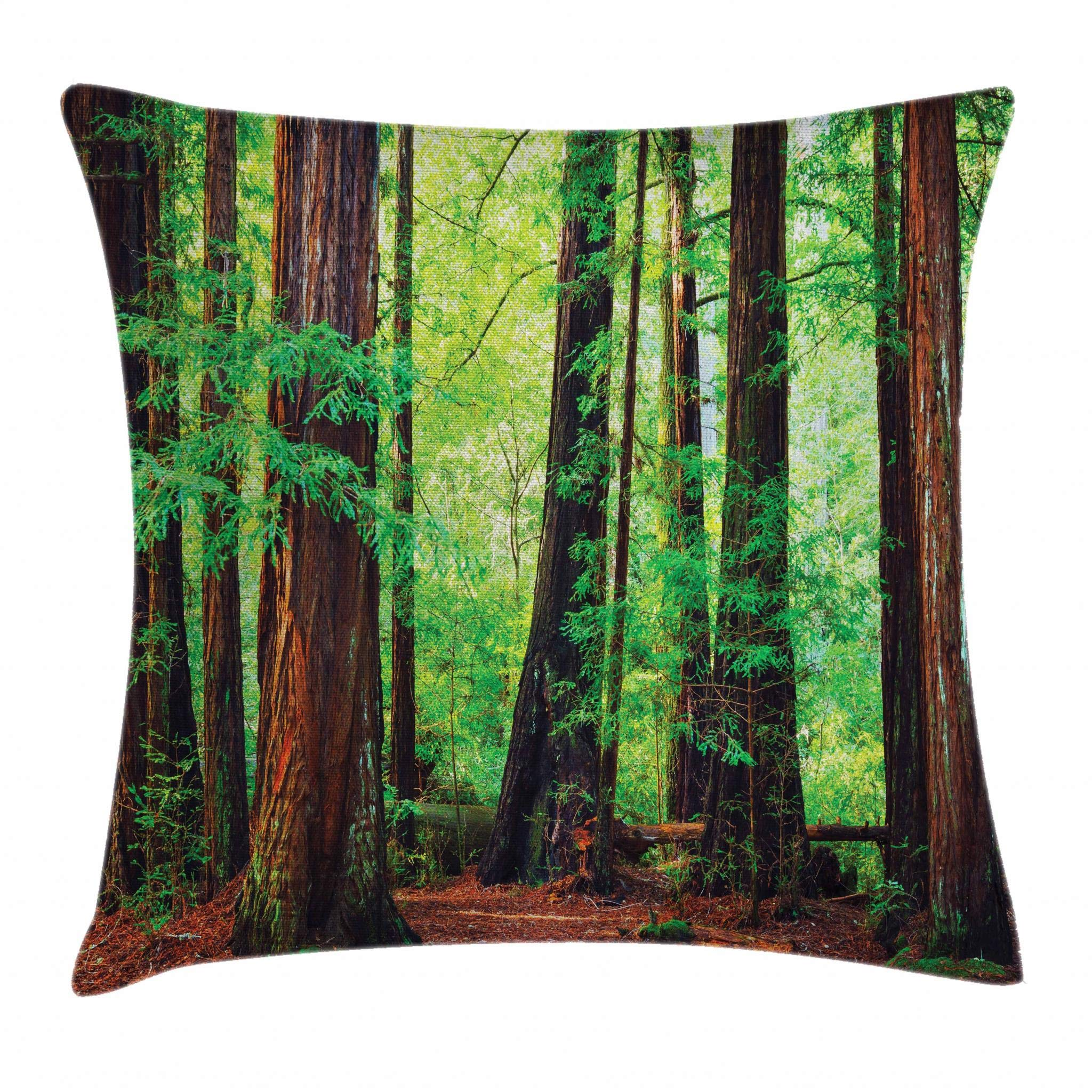 Ambesonne Woodland Throw Pillow Cushion Cover, Redwood Trees Northwest Rain Forest Tropical Scenic Wild Nature Lush Branch, Decorative Square Accent Pillow Case, 18'' X 18'', Brown Green by Ambesonne