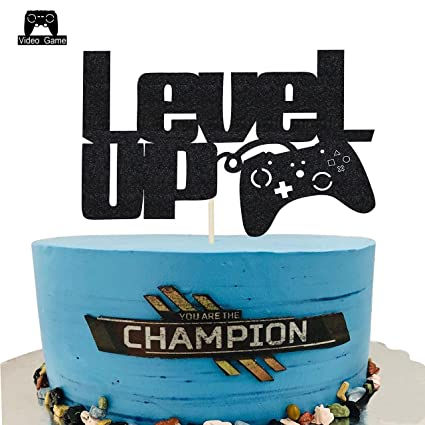 Superb Kapokku Level Up Video Game Cake Toppers Happy Birthday Party Personalised Birthday Cards Veneteletsinfo
