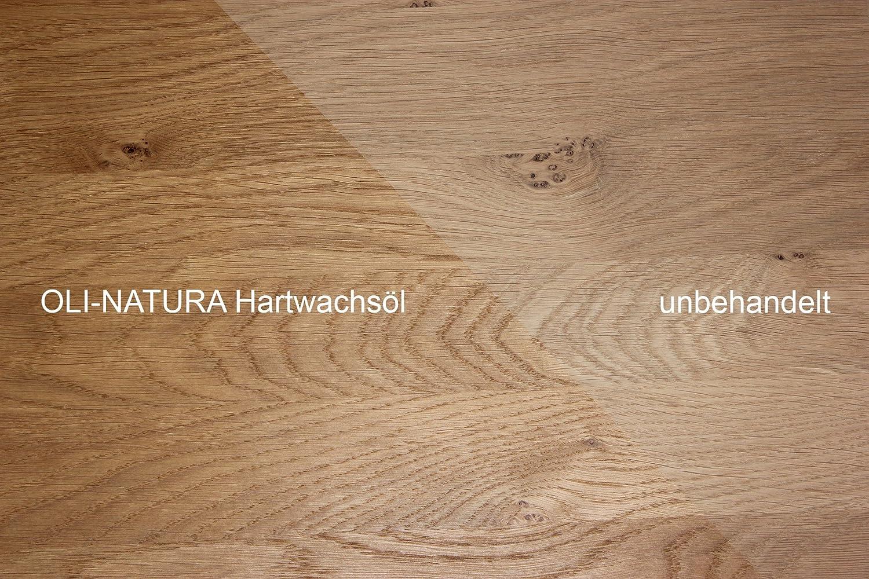 OLI-NATURA Aceite de cera dura - para suelos de madera, parqué, muebles, escaleras, puertas y encimeras, 1 L, Color: natural