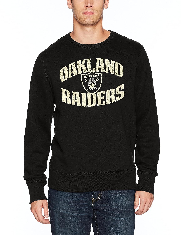 OTS NFL Oakland Raiders Mens Fleece Crew Distressed Marbleton Medium