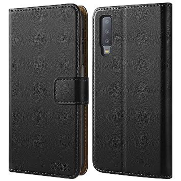 HOOMIL Cuero Premium Funda para Samsung Galaxy A7 2018 Carcasa (Negro)