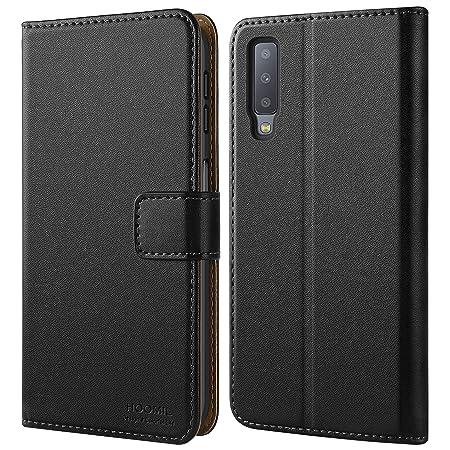 HOOMIL Handyhülle für Samsung Galaxy A7 2018 Hülle, Premium Leder Flip Schutzhülle für Samsung Galaxy A7 2018 Tasche, Schwarz
