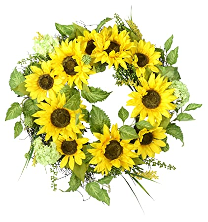 Amazon Com 22 Inch Sunflower Wreath With Hydrangea Fern And Spring