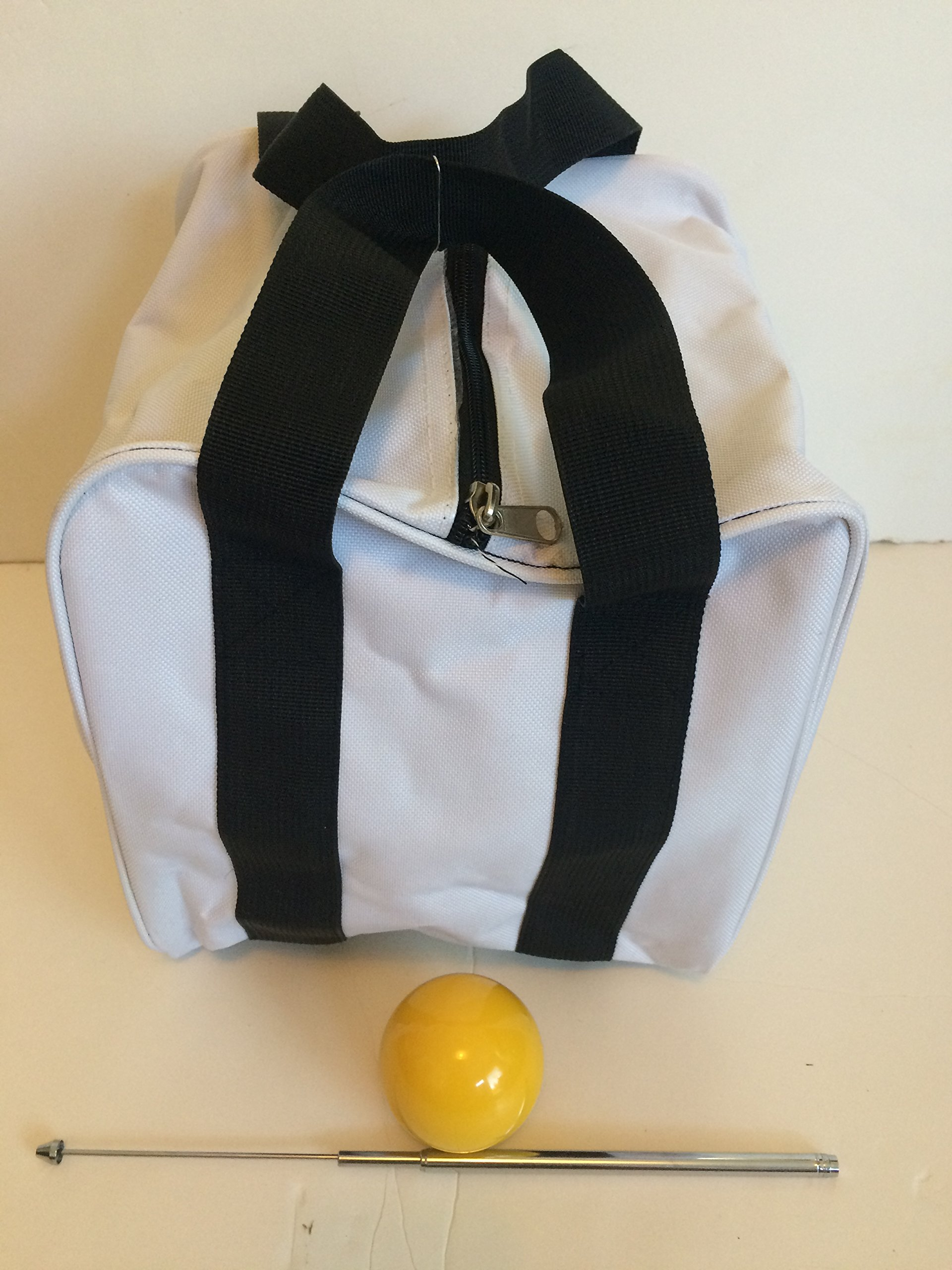 Unique Bocce Accessories Package - Extra Heavy Duty Nylon Bocce Bag (White with Black Handles), Yellow pallina, Extendable Measuring Device