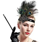BABEYOND 1920s Flapper Headpiece Peacock Feather Sequins Headband Great Gatsby Accessory Headband for Prom Pageant Themed Party