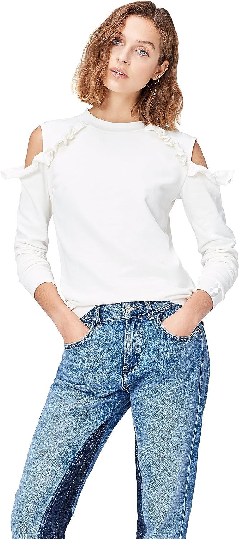TALLA 48. Marca Amazon - find. Camisa de Rayas con Hombros al Aire para Mujer