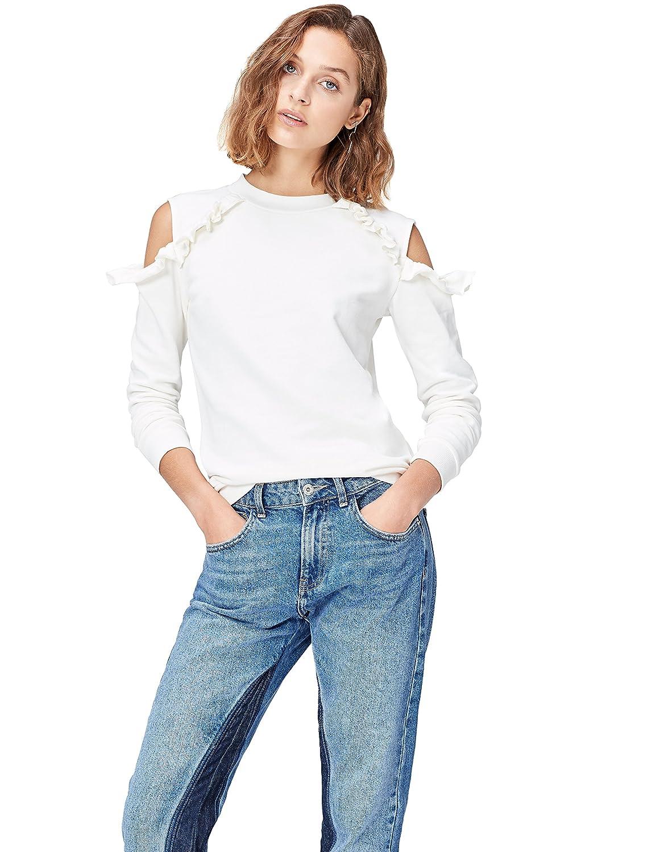 TALLA 48 (Talla del Fabricante: XXX-Large). Marca Amazon - find. Camisa de Rayas con Hombros al Aire para Mujer