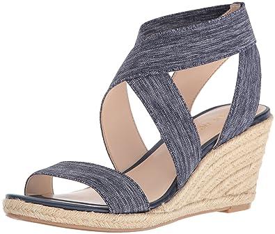 45b88edccf16 Nine West Women s Jenafir Fabric Wedge Sandal Dark Blue