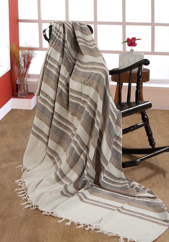 EHC 172 x 228cm, 100% Cotton Stripe Large 2 Seater Sofa/ Chair or Double Bed Throw, Machine Washable-Natural/Black Elitehousewares E9-KRL1725BK