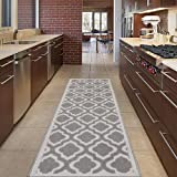 "Diagona Designs Contemporary Moroccan Trellis Design Non-Slip Kitchen / Bathroom / Hallway Area Rug Runner, 20"" W x 59"" L, Grey / Charcoal"