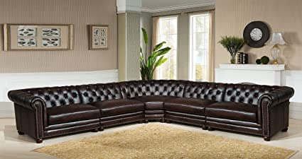 Hydeline Kennedy 100% Leather Sectional Sofa Set (5 Piece), Dark Brown