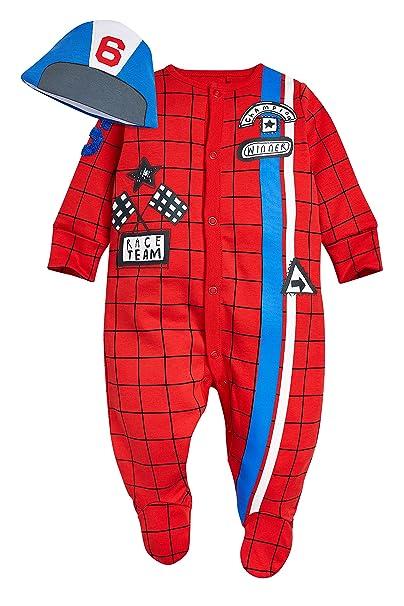 next Bebé Niño Conjunto De Gorro Y Pijama Piloto De Carreras Rojo/Azul (0