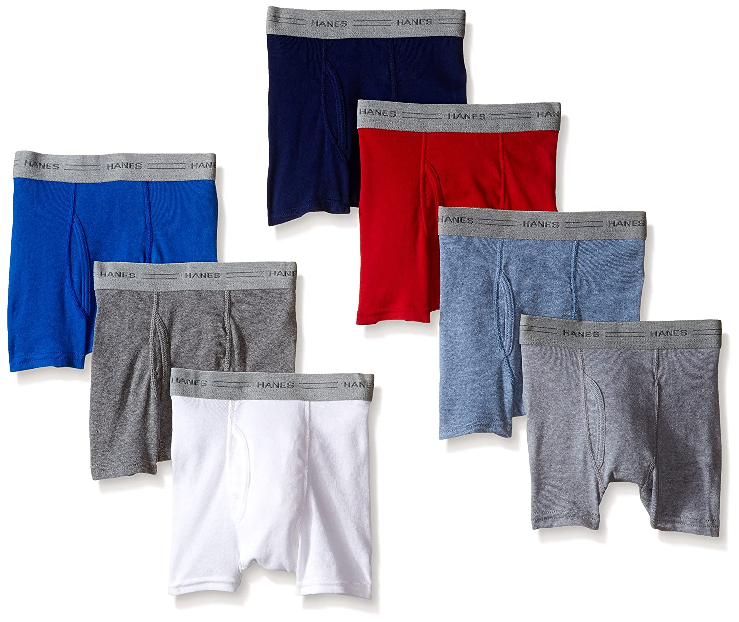 Hanes Boys' 7 Pack Dyed Boxer Briefs by Hanes