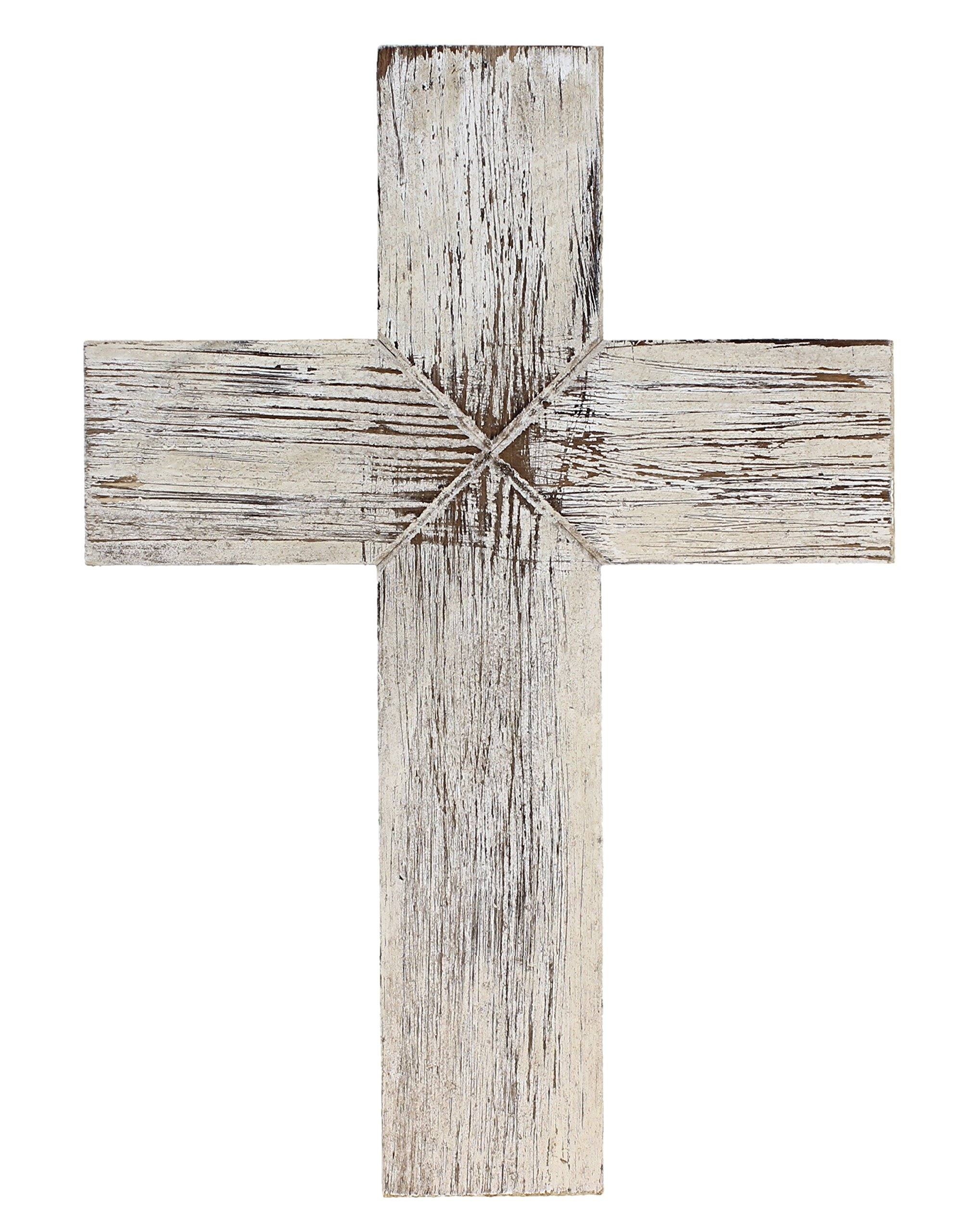 Old River Outdoors Simple 14'' Weathered Wood Decorative Wall Cross - Rustic Shabby Chic Chalk Paint Look (White)