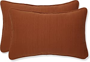 Pillow Perfect Indoor/Outdoor Cinnabar Corded Rectangular Throw Pillow, Set of 2, Burnt Orange