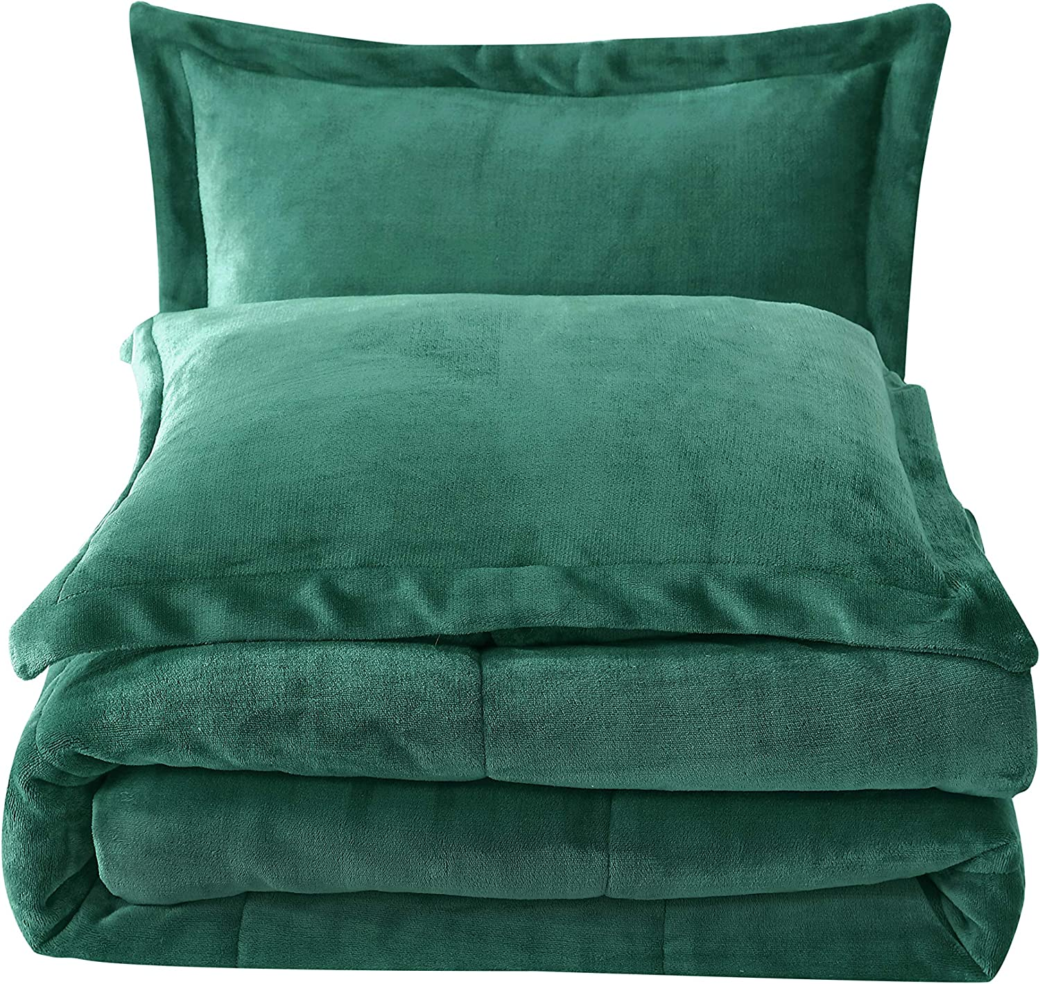 Chezmoi Collection FS200 3-Piece Micromink Sherpa Reversible Down Alternative Comforter Set (Queen, Green)