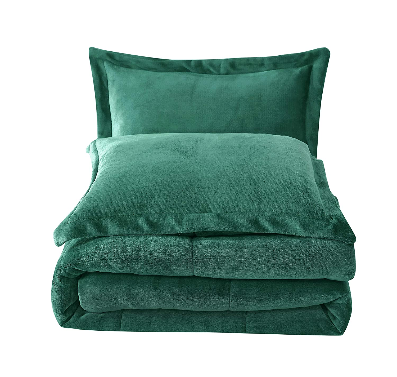 Chezmoi Collection 3-Piece Micromink Sherpa Reversible Down Alternative Comforter Set (King, Hunter Green)