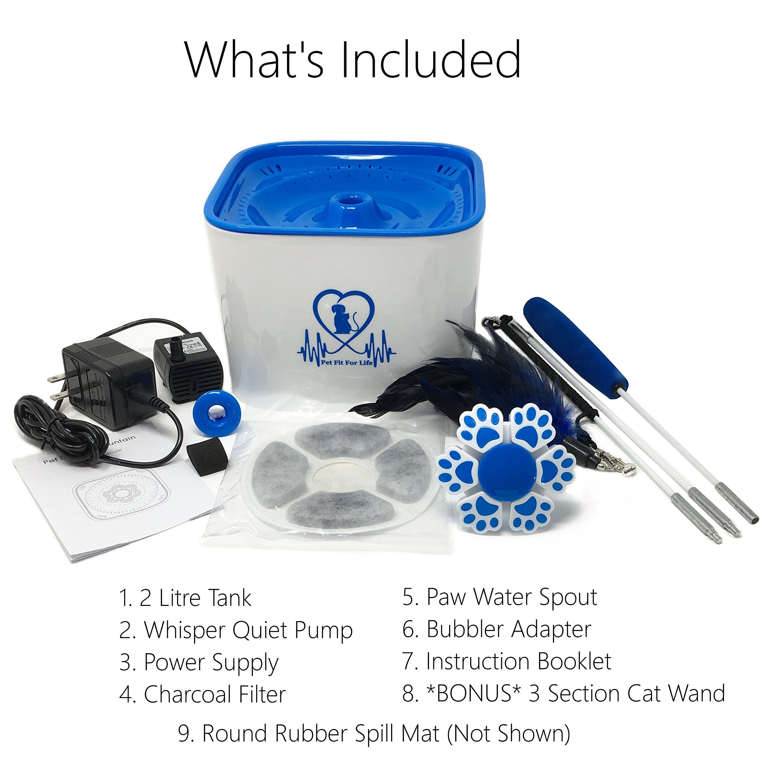 Pet Fit For Life Water Fountain Dispenser Plus Bonus Cat Wand and Mat - 2 Liter Super Quiet Automatic Water Bowl with Charcoal Filter for Dogs, Cats, Birds and Small Animals by Pet Fit For Life (Image #3)