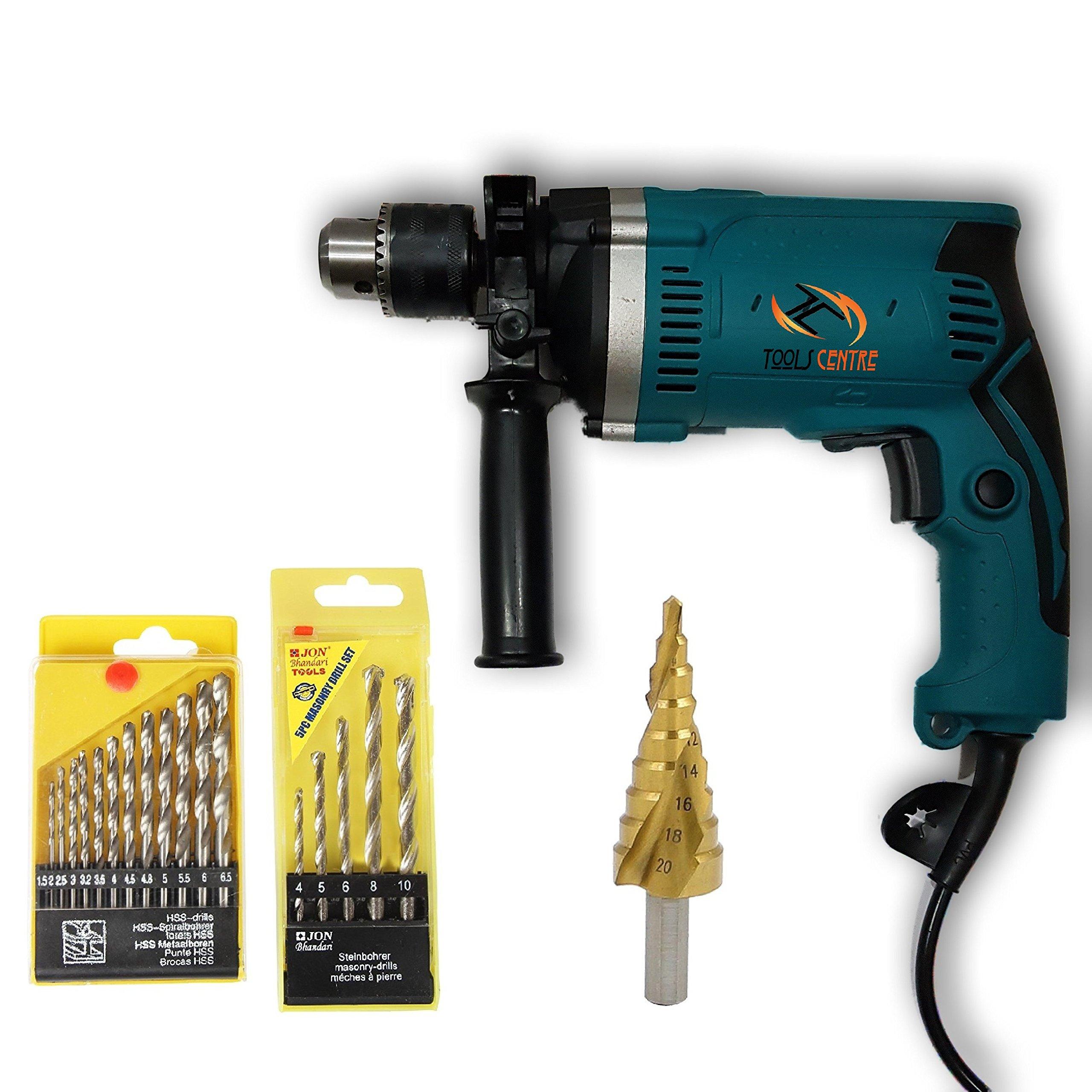 Tools Centre 800W Impact 13mm Hammer Drill Machine With Drill Bit Kit & Step Drill Bit.