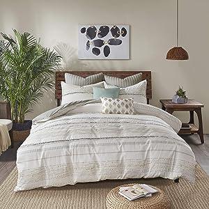 "INK+IVY 100% Cotton Duvet Set Mid Century Modern Design, All Season Comforter Cover Bedding Set, Matching Shams, Full/Queen(88""x92""), Nea, Ivory Stripes Tassel Accent 3 Piece"