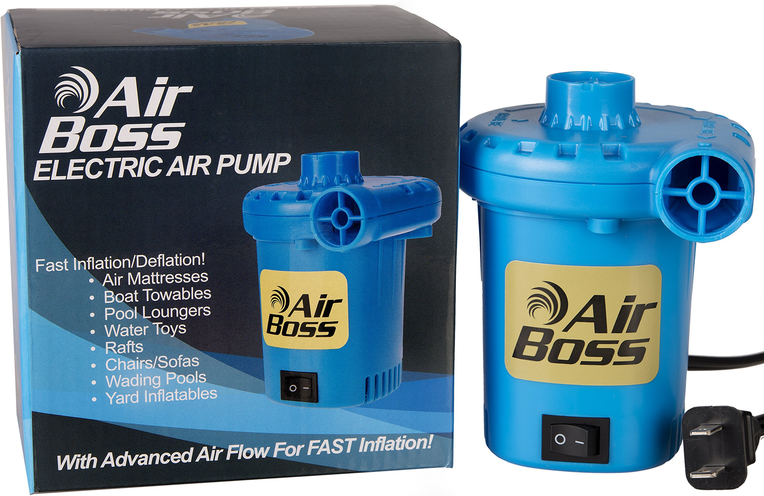 VERY FAST Electric Air Pump For Inflatables, 1,000 Liters of Air Per Minute! 3-Times Faster Than Similar Looking Units, Air Mattress, Bed, Pool Float, Raft, Boat Toys, Plus 3-Year Replacement!