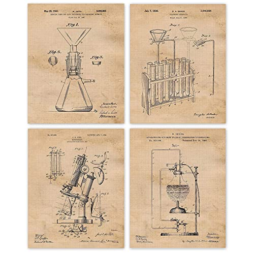 Vintage Science Lab Chemistry Patent Poster Prints