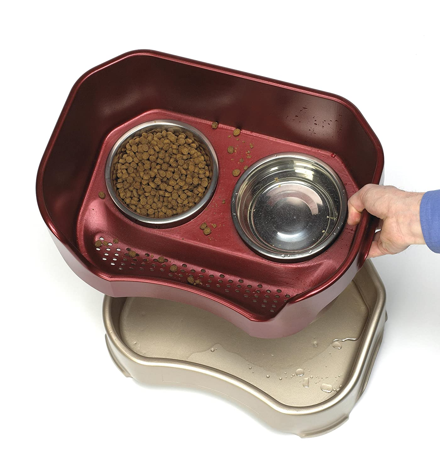 The Mess Proof Elevated Bowls No Slip Non Tip Food Dish with Stand