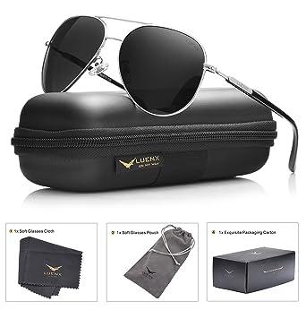 LUENX Mens Womens Aviator Sunglasses Polarized with Acc...
