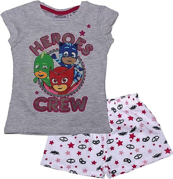 PJ Masks Girls Hearts Glitter Short Sleeve Pyjamas Grey 3 Years