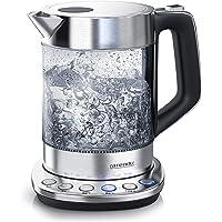 Arendo - Glas Wasserkocher mit Temperatureinstellung | Warmhaltefunktion (30min) | 1,5 Liter Füllmenge | robustes Borosilikatglas | Basisstation aus Edelstahl | Modernes Design | Zertifiziert BPA Frei