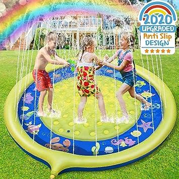 Jojoin Splash Pad, Almohadilla de Aspersión de 170 cm, Jardín de Verano Juguete para Niños, Aspersor de Juego de Verano, Engrosamiento de PVC (Amarrillo - Azul): Amazon.es: Juguetes y juegos