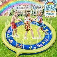 Jojoin Splash Pad, Almohadilla de Aspersión de 170 cm, Jardín de Verano Juguete para Niños, Aspersor de Juego de Verano, Engrosamiento de PVC (Amarrillo - Azul)