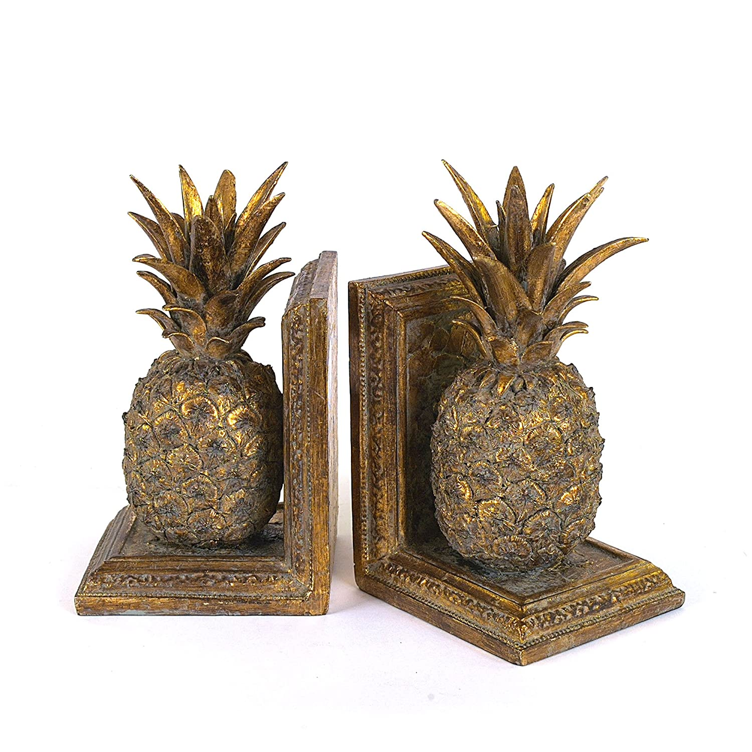 amazon com creative co op resin pineapple bookend set gold home