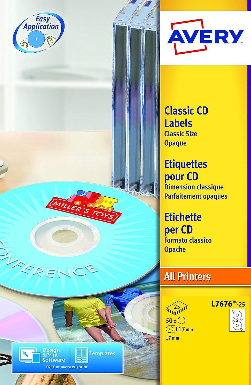 Avery L7676-25 Self-Adhesive Full Face CD Labels 2 Labels Per A4 Sheet