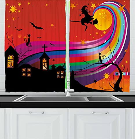 Ambesonne Halloween Kitchen Curtains, Witch Woman on Broomstick Bats Cat  Stars Rainbow Moon Castle Abstract Colorful, Window Drapes 2 Panel Set for