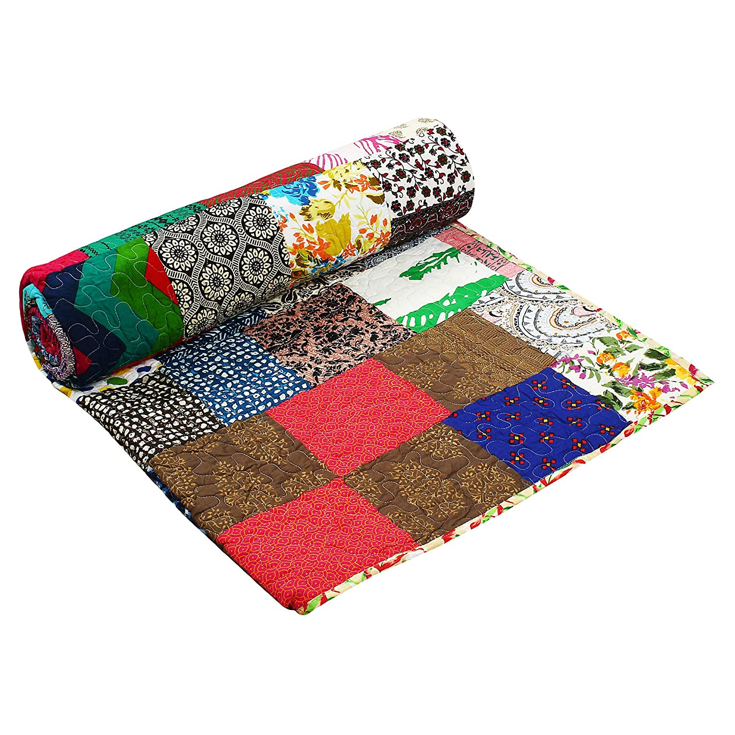 108X90 INCH KQDPAT01 Aakriti Gallery Colofrul Patch Quilt Polyfill Print 100/% Cotton Bedspread Printed Quilt Throw Indian Handmade bedsheets