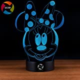 3D Optical Illusion Night Light - 7 LED Color Changing Lamp - Cool Soft Light Safe For Kids - Solution For Nightmares - Disney Minnie Mouse