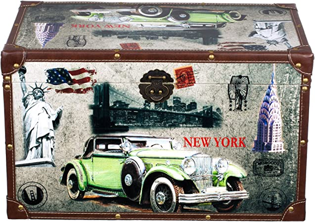 forziere del tesoro decorazione piccoli mobili con accessori in metallo in legno con rivestimento in tela stile marittimo Baule SJ13178 New York alta qualit/à effetto anticato stile vintage legno diverse dimensioni USA scatola dei pirati