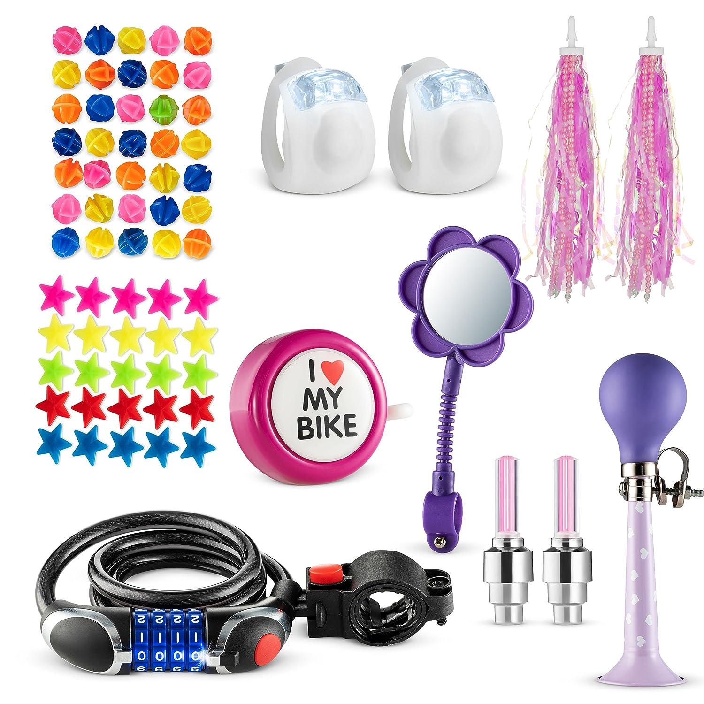 店舗良い 子供用自転車装飾&アクセサリーキット - 自転車スポークビーズ、自転車ミラー、自転車ベル、自転車ホイールライト Piece、安全シリコンライト set-Pink 70、自転車チェーン付き 70 Piece set-Pink B07FFGLYVS, お名前シールのNAD:42483a86 --- arianechie.dominiotemporario.com