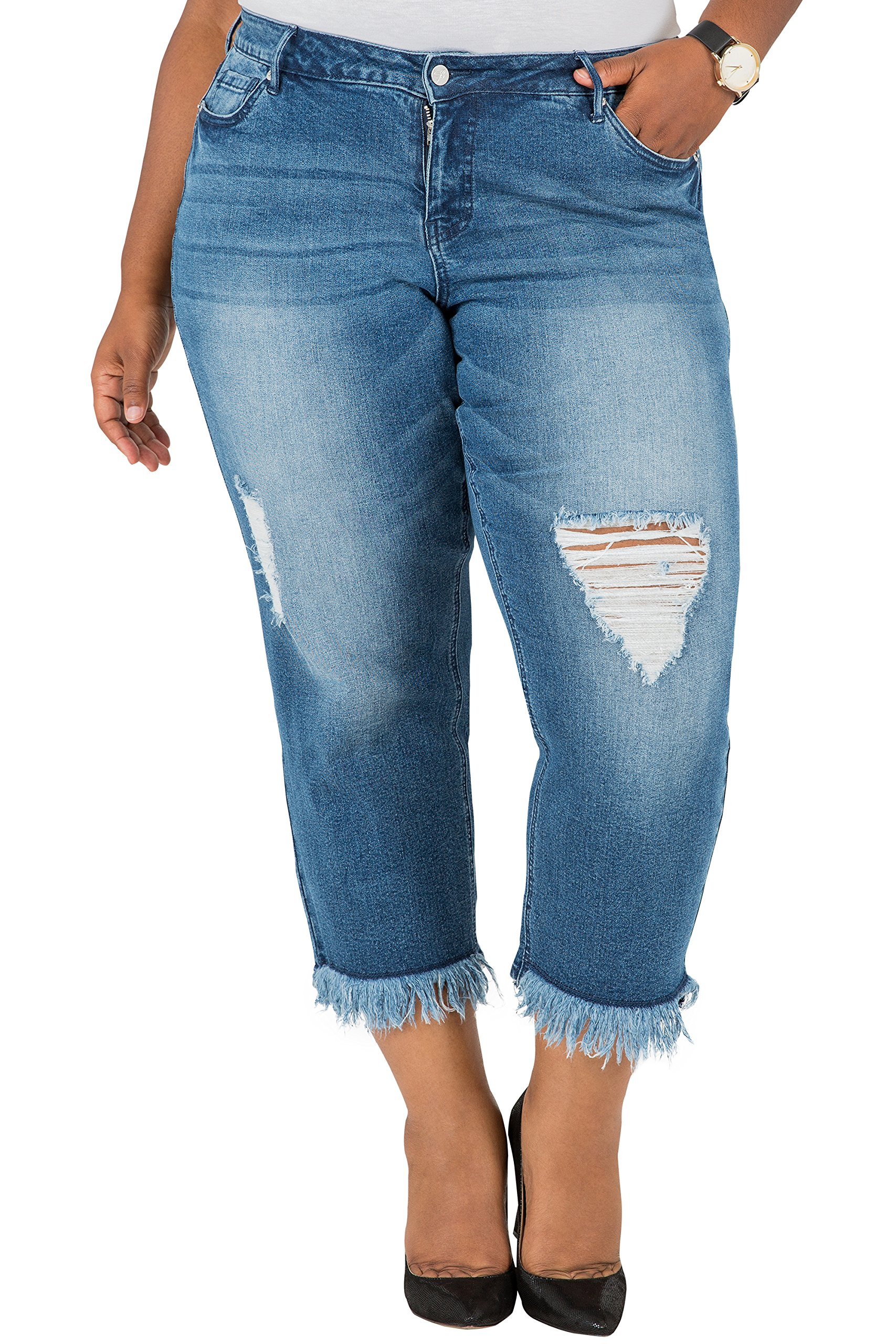 Poetic Justice Plus Size Curvy Fit Women's Cropped Frayed Boyfriend Jeans Size 14