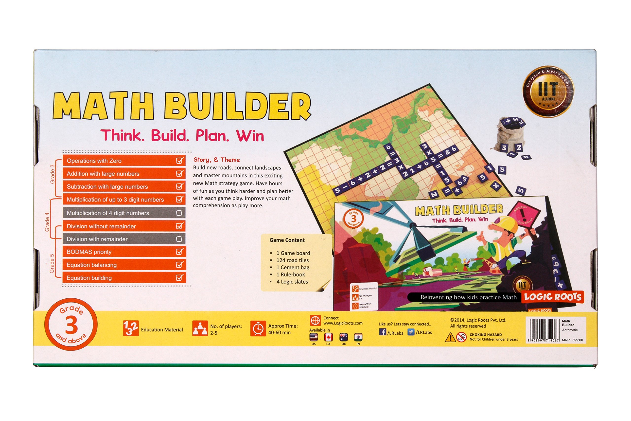 Math Builder Number Scrabble Junior Board Game With Equations and Arithmetic Skills Stem Toy Math Manipulative by LogicRoots (Image #6)