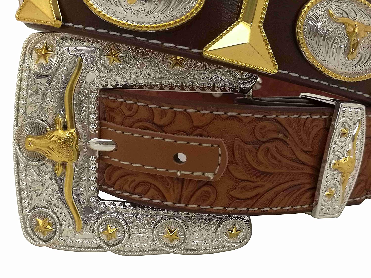 West Star Gold Tie Embossed Belt Cross Eagle Falcon Longhorn Prayer Rooster Mens Choices Western Concho Belt