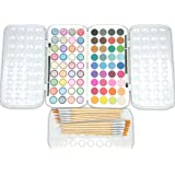 EconoArts Watercolor Paint Set, 72 Colors - Normal and Pearlescent Cakes, 12 Brushes - 6 Flat and 6 Round