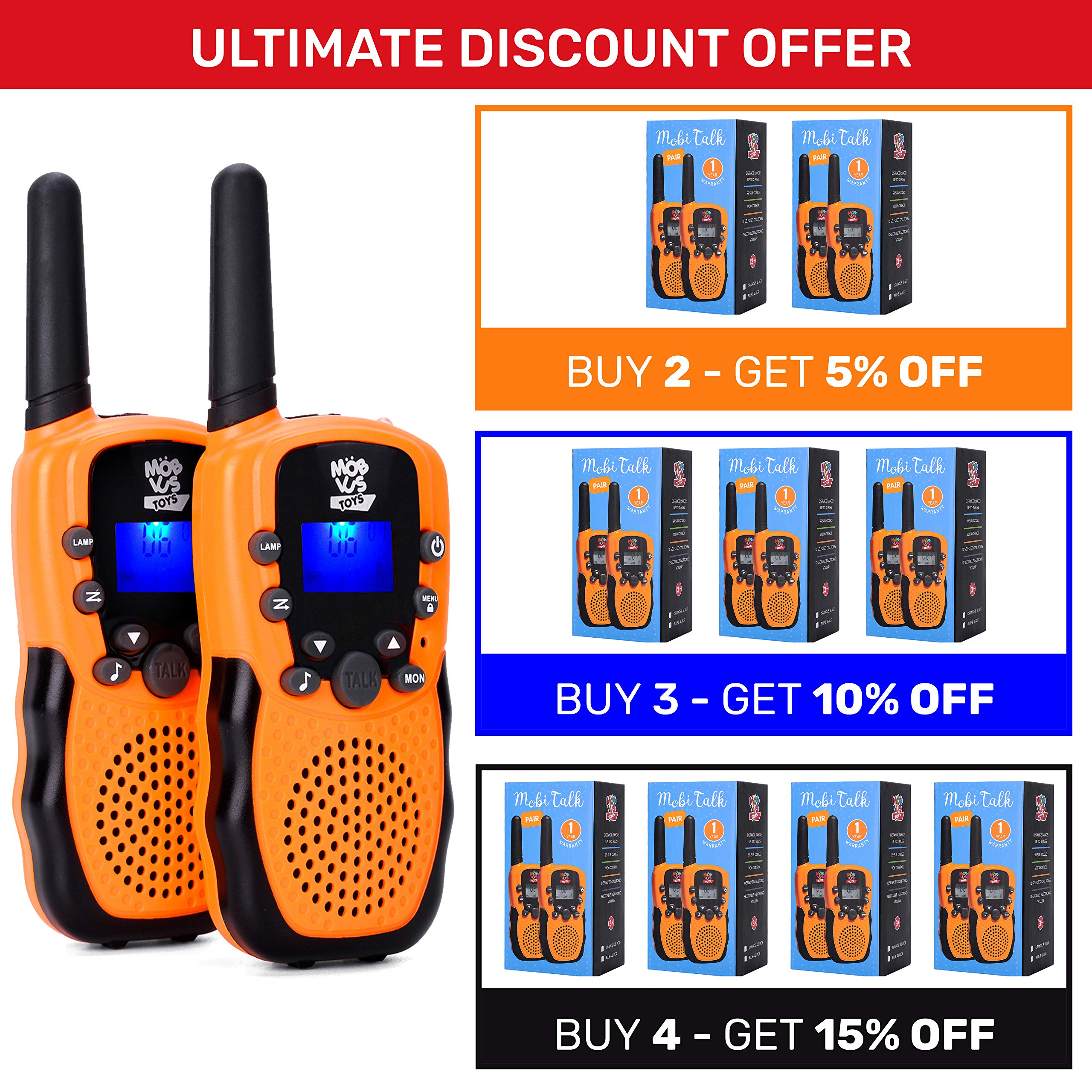 Walkie Talkies for Kids - (Vox Box) Voice Activated Walkie Talkies Toy for Kids, Two Way Radios Pair for Boys & Girls, Limited Edition Color Best Gift Long Range 3+ Miles Children's Walkie Talkie Set by MOBIUS Toys (Image #7)