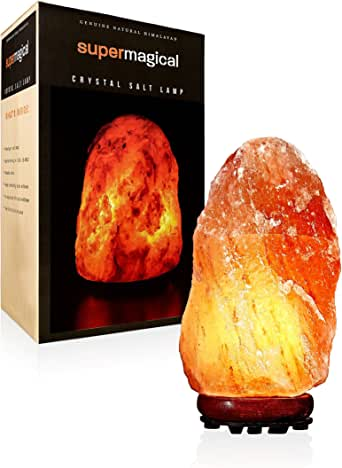 Super Magical 4-6lb Himalayan Salt Lamp on Wood Base w/UL-Approved Dimmer, 6-ft Cord and Extra Bulb
