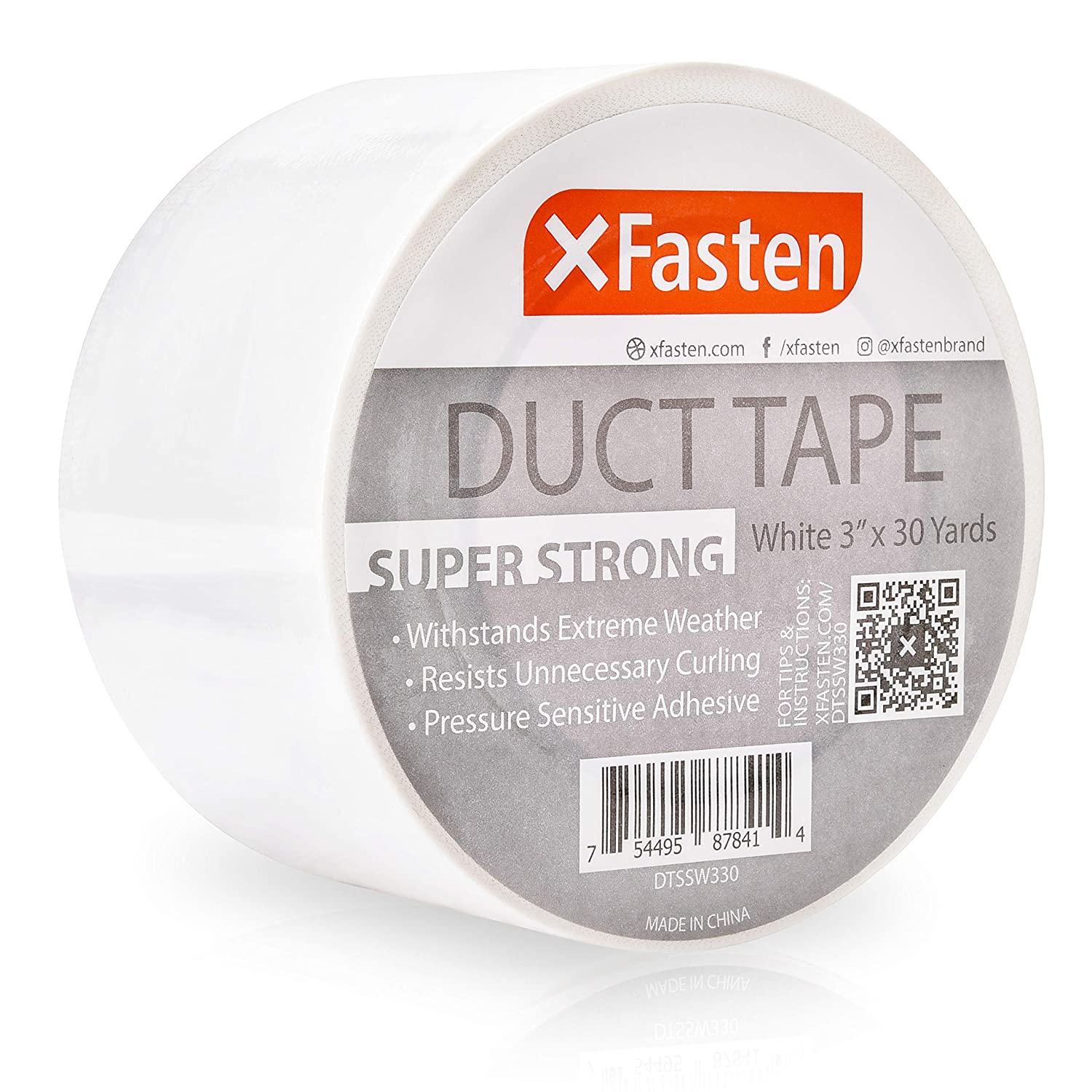 "XFasten Super Strong Duct Tape, White, 3"" x 30 Yards, Waterproof Duct Tape for Outdoor, Indoor, School and Industrial Use"
