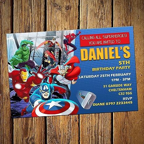 Los Vengadores personalizado invitaciones de fiesta ...