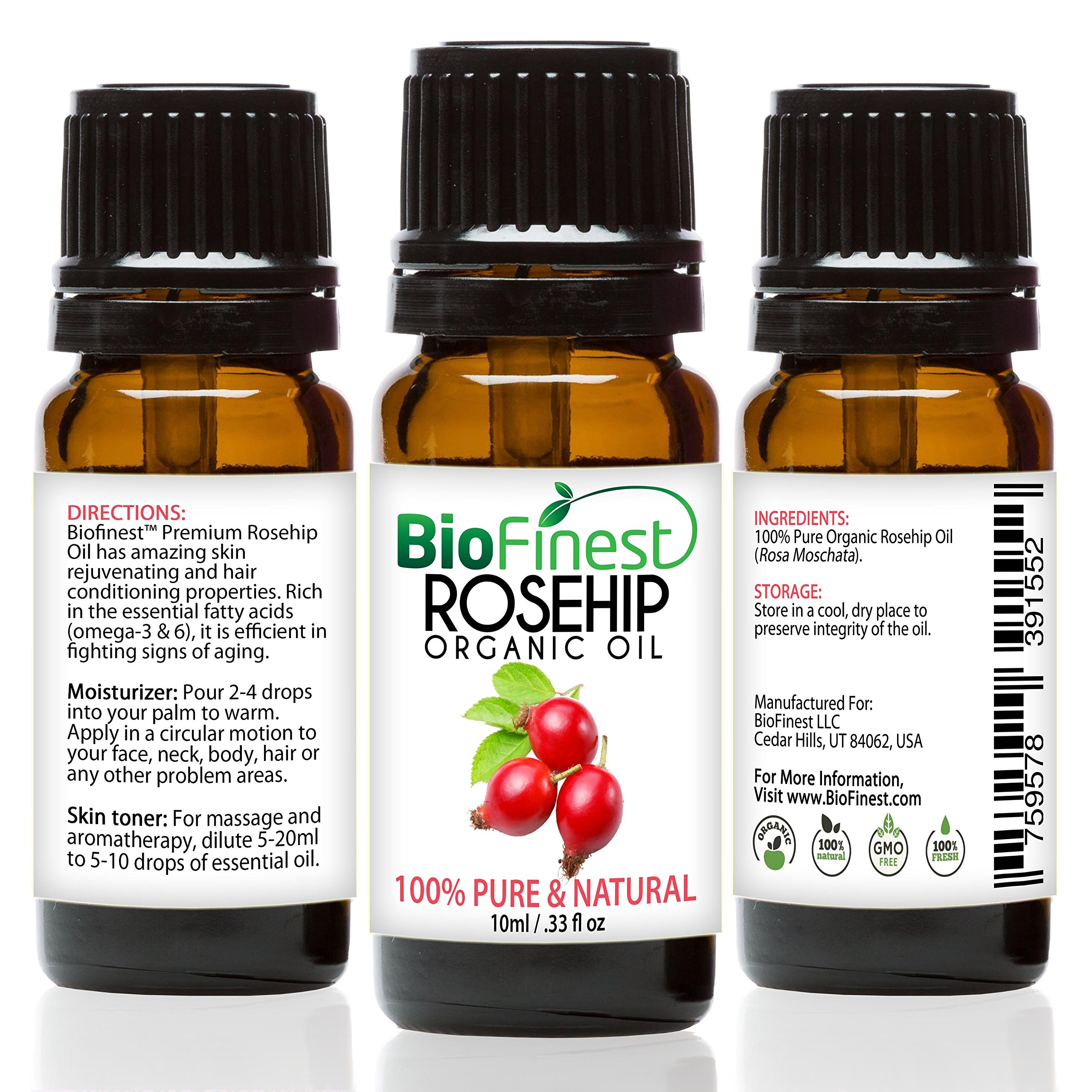 BioFinest Rosehip Oil - 100% Pure Cold-Pressed - Certified Organic - Chile Premium