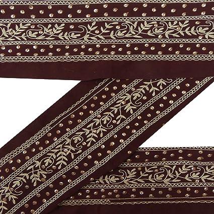 Indian Vintage bordado recorte Sari Frontera Maroon vestido Hacer encaje 1yd cinta